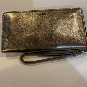 Fossil wallet gold sparkly Accordion style zip up